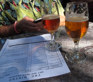 Bistro wet hop festival list and glassses