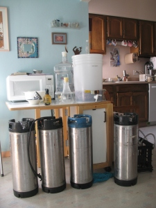 kegs in the kitchen