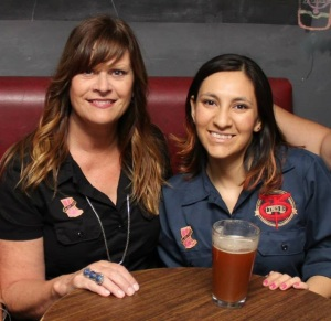 Denise Ratfield and Mexican brewer Laura Estela Garcia drinking Chicali Unite Red Ale  from  Cerveceria Tres B in Mexicali, Mexico.  (Photo by Diego Castillón. of La Cronica newspaper In Mexicali)