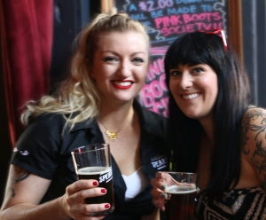 Cat Wiest and Tiffany McFarland celebrate the brew